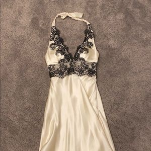 Silk and black lace cocktail dress
